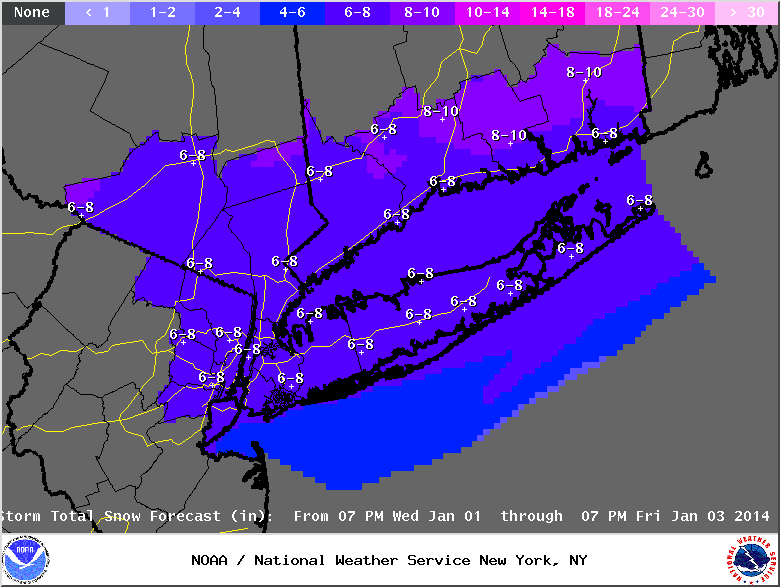 nyc snow fall forecast